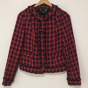 Express Blazer Tweed Fringe Plaid Snap Button